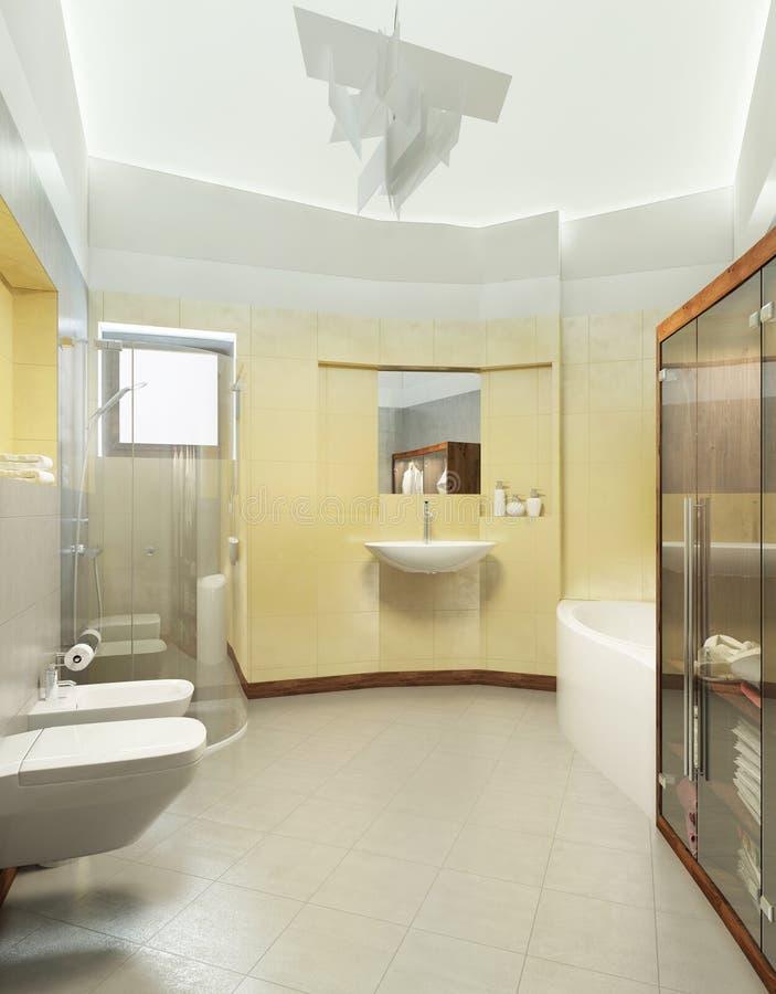 Badezimmer in der zeitgenössischen Art Badezimmer mit grauem und gelbem Ti lizenzfreie abbildung