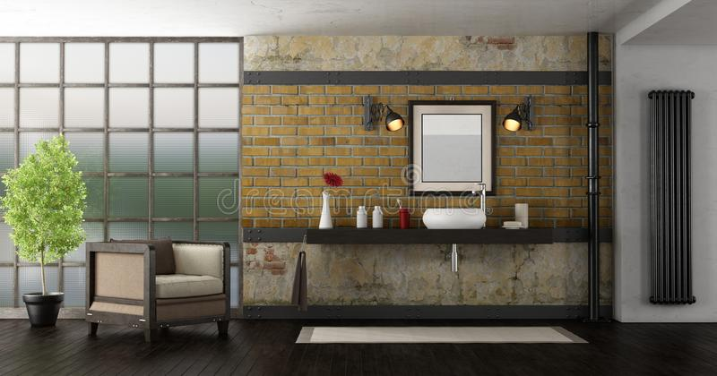 Badezimmer in einem Dachboden lizenzfreie abbildung