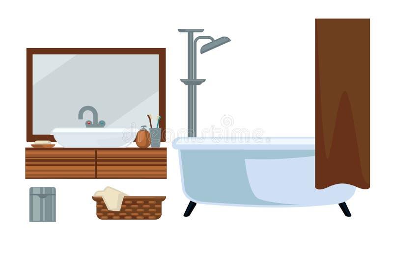 Badezimmer fruniture und Baden von den flachen Ikonen des Zubehörvektors eingestellt lizenzfreie abbildung