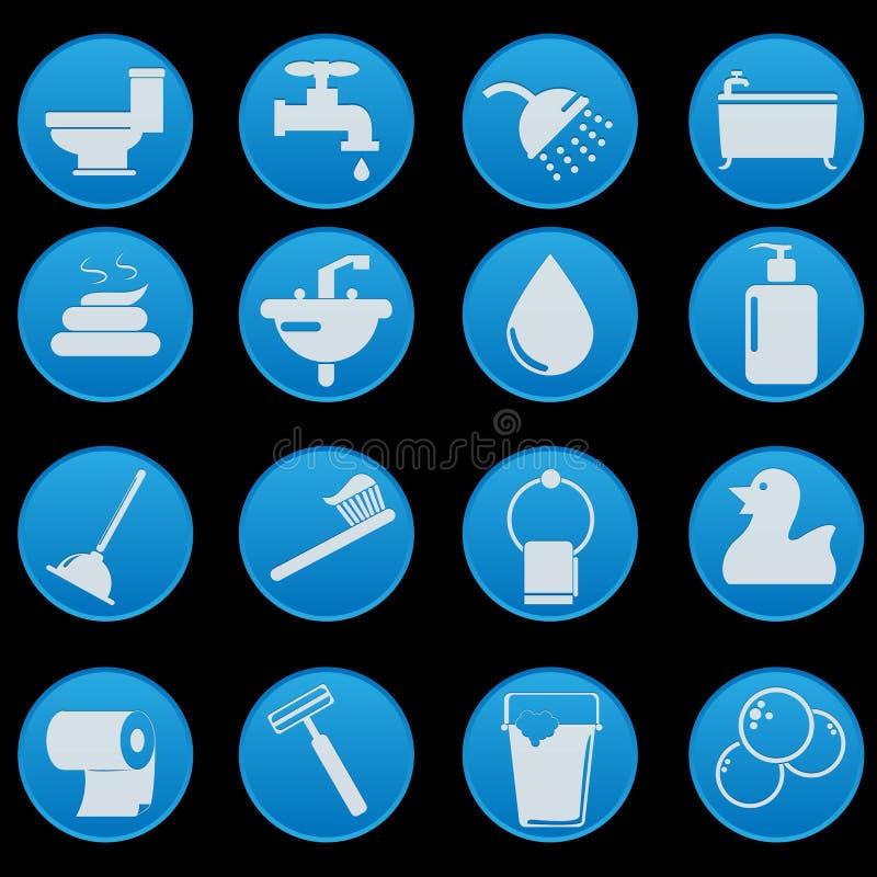 Badezimmer-Ikonen-Satz lizenzfreie abbildung