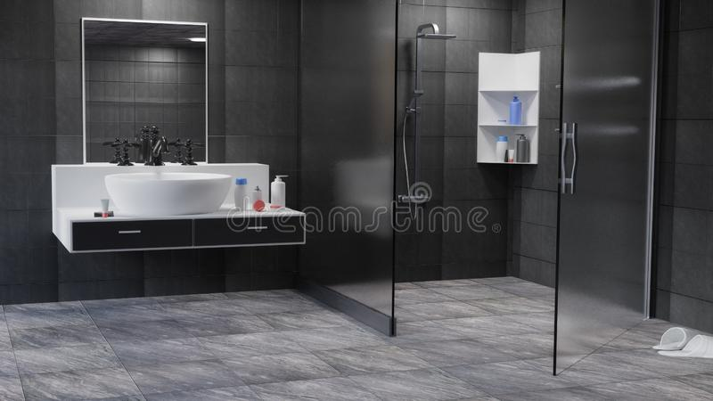 Badezimmer Innen-3D übertrug Illustration Hintergrund stock abbildung