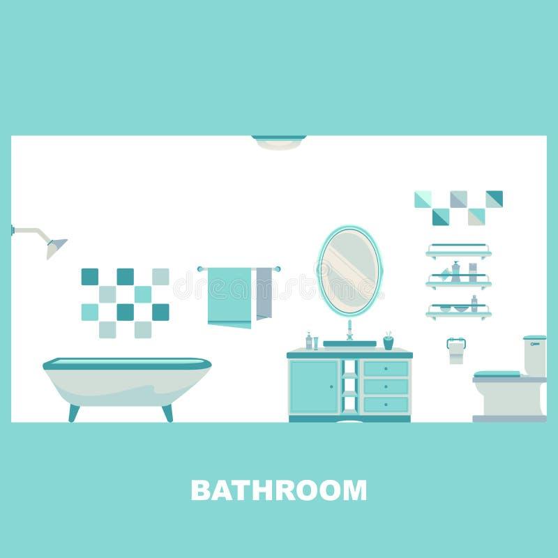 Badezimmer-Innenausstattungs-Vektor vektor abbildung