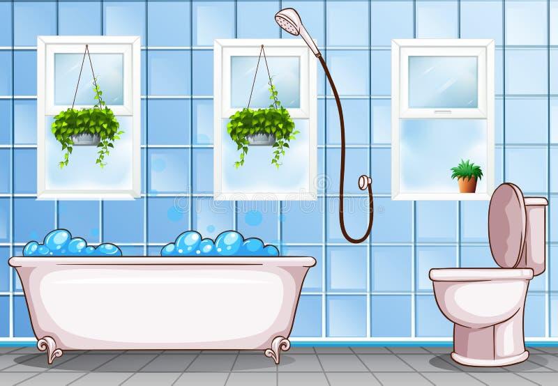 badezimmer mit badewanne und toilette vektor abbildung illustration von haupt auslegung 62786351. Black Bedroom Furniture Sets. Home Design Ideas