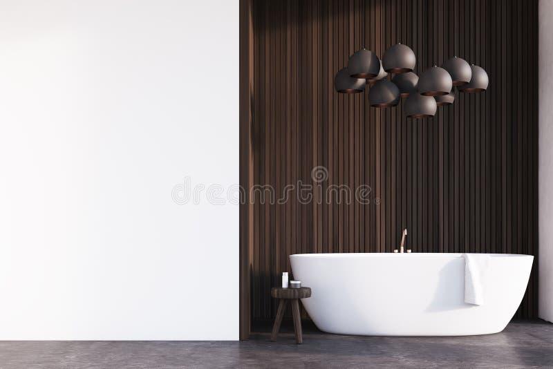 Badezimmer mit Lampen, dunkles Holz, Wand lizenzfreie abbildung