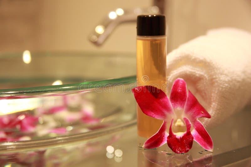 Badezimmer Mit Orchidee Stockfotografie