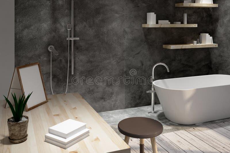 Badezimmer mit sauberem Bilderrahmen lizenzfreie abbildung