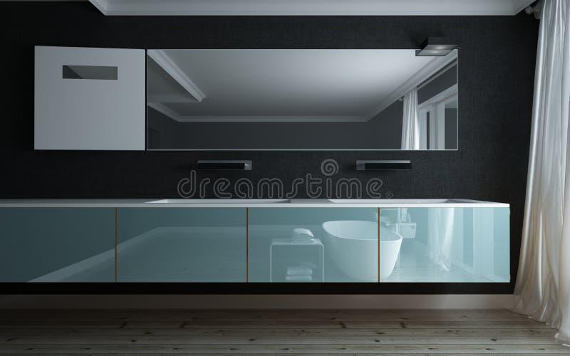 Badezimmer reflektiert in einer modernen Eitelkeitseinheit stock abbildung