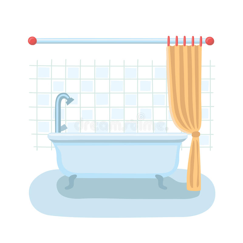 Badezimmerduschinnenraum in der flachen Karikaturvektorart mit offenem und geschlossenem Duschvorhang lizenzfreie abbildung