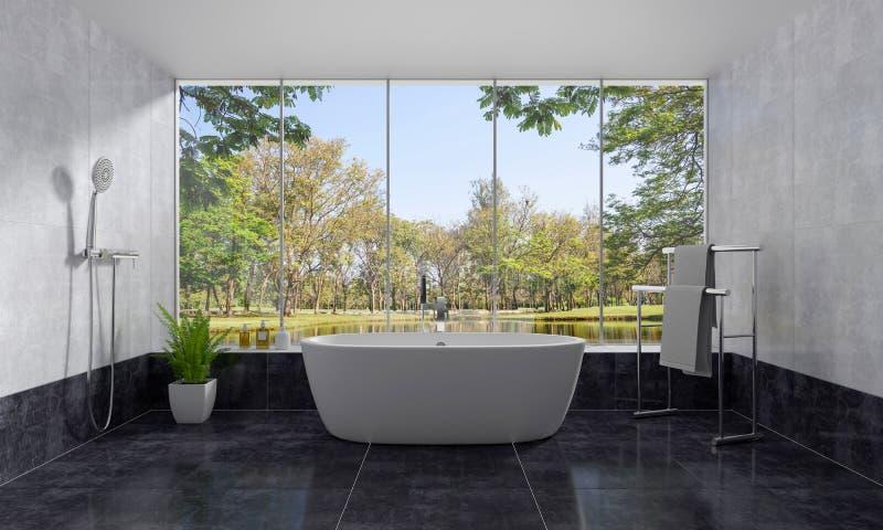 Badezimmerinnenbadewanne mit Naturansicht, Wiedergabe 3D lizenzfreie abbildung