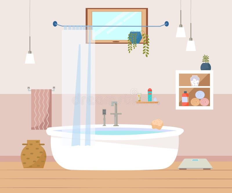 Badezimmerinnenmöbel mit Bad, Lampen, Tücher, Fenster, weißer Schrank Skandinavische Art Flacher Vektor lizenzfreie abbildung