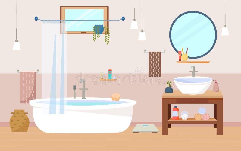 Badezimmerinnenmöbel mit Bad, Wanne und hölzernem Schrank, ein runder Spiegel, Lampen, Tücher, Fenster Flacher Vektor stock abbildung