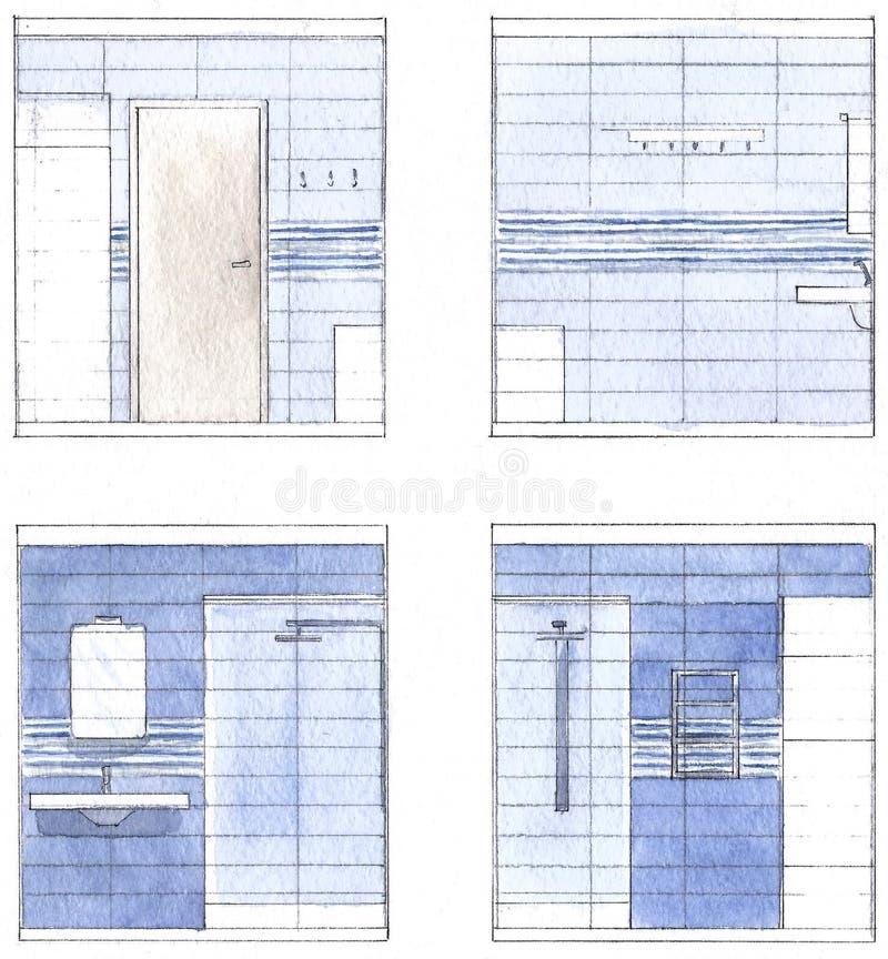 Badezimmerinnenraum im Aquarell stockbild