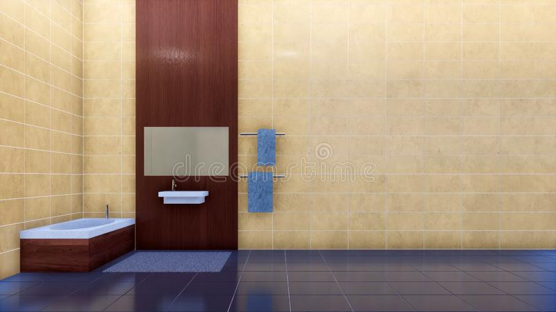 Badezimmerinnenraum mit beige Fliesenwand des Kopienraumes stock abbildung