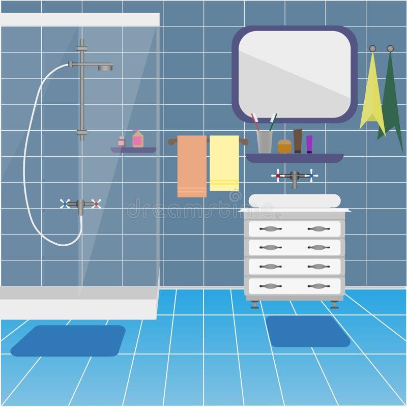 Badezimmerinnenraum mit Dusche und Waschbecken Hintergrund stock abbildung
