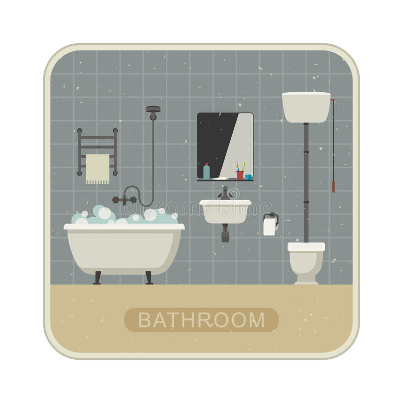 Badezimmerinnenraum mit Schmutzbeschaffenheit stock abbildung
