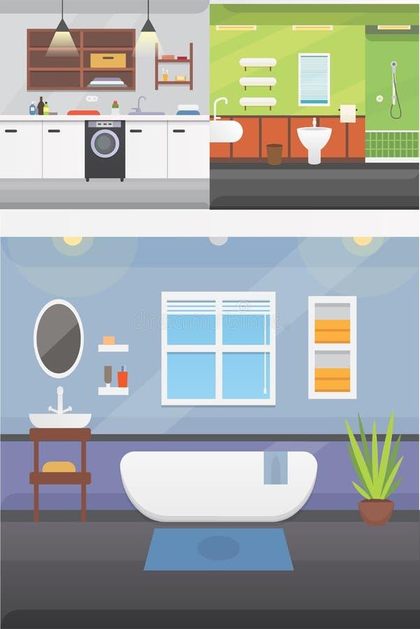 Badezimmerinnenraum oder Architektur und Möbel vector Illustration lizenzfreie abbildung