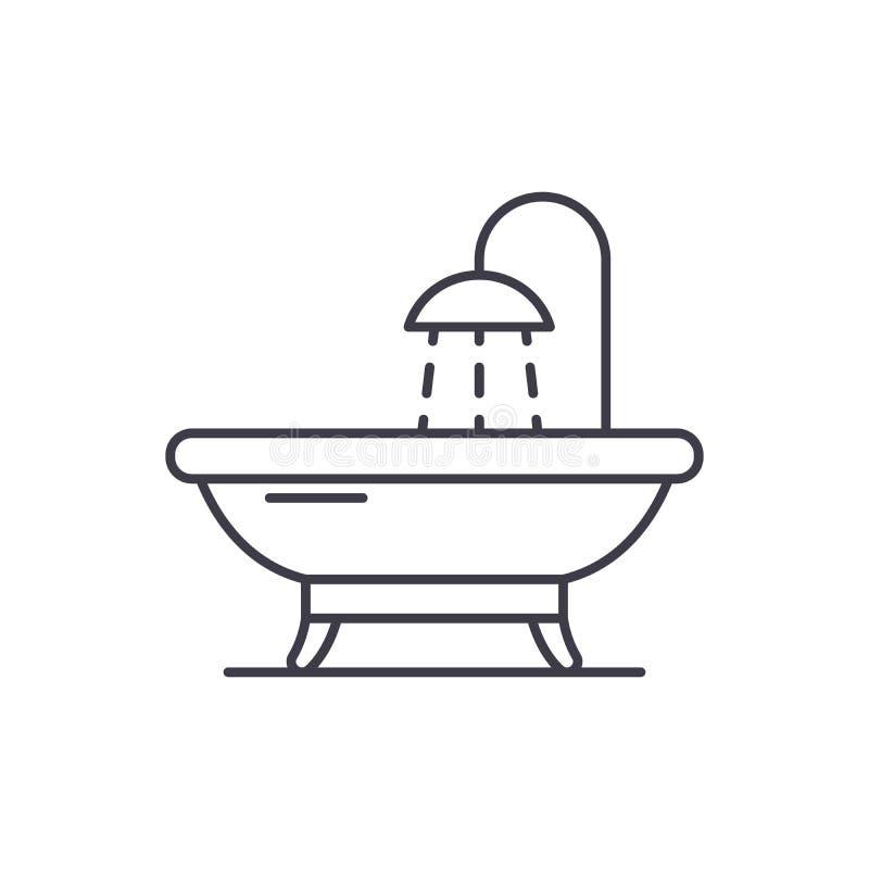 Badezimmerlinie Ikonenkonzept Lineare Illustration des Badezimmervektors, Symbol, Zeichen lizenzfreie abbildung
