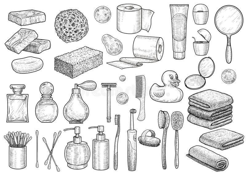 Badezimmersammlungsillustration, Zeichnung, Stich, Tinte, Linie Kunst, Vektor stock abbildung