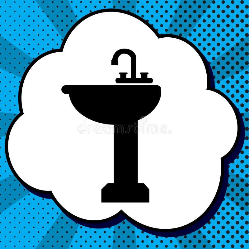 Badezimmerwannenzeichen Vektor Schwarze Ikone in der Blase auf blauer Pop-Art lizenzfreie abbildung