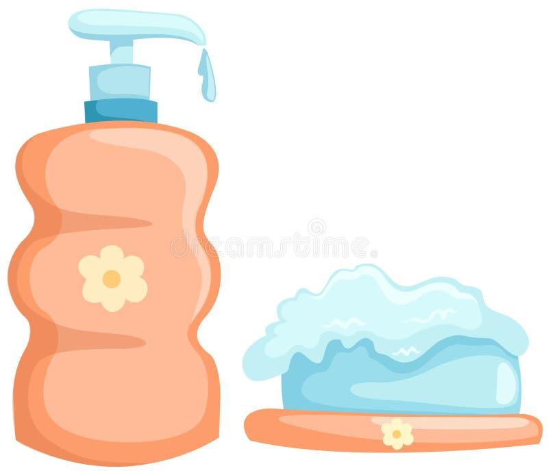 Badflasche und -seife stock abbildung