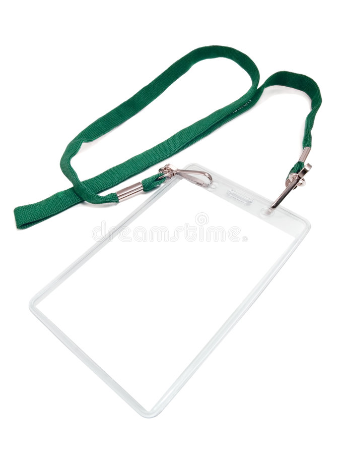 Badge. With a white place of a copy. Isolated on a white background. Green cord stock photo