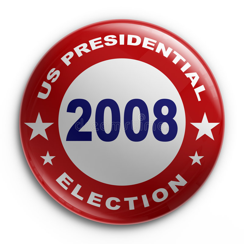 Badge - 2008 election. 3d rendering of a badge for the 2008 presidential election royalty free illustration