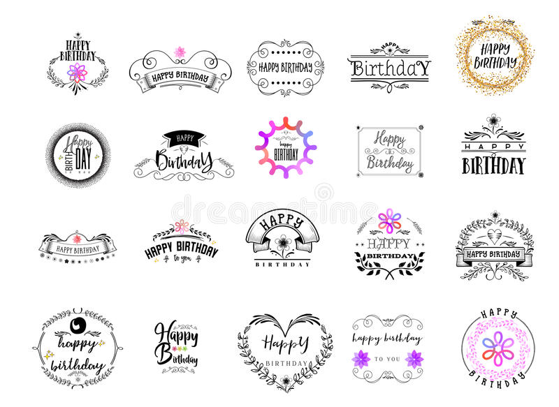 Badge as part of the design - Happy Birthday Sticker, stamp, logo - for design, hands made. With the use of floral stock illustration
