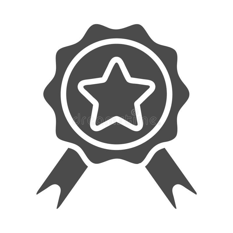 Badge avec l'icône de glyph de rubans, le commerce électronique et la récompense, les graphiques de vecteur de signe de qualité,  illustration de vecteur