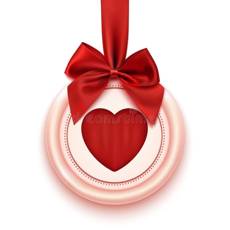 Badge avec le coeur, le ruban rouge et l'arc, d'isolement dessus illustration de vecteur
