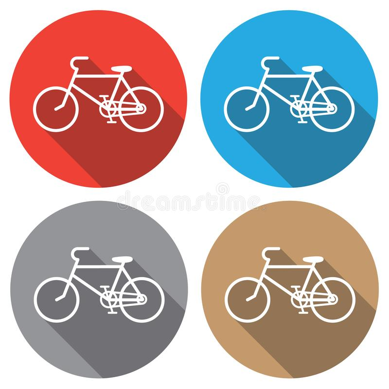 A badge is a bicycle. Badge in a flat design. royalty free illustration
