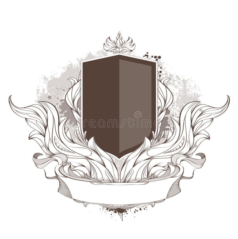 Badge and bizarre pattern royalty free illustration