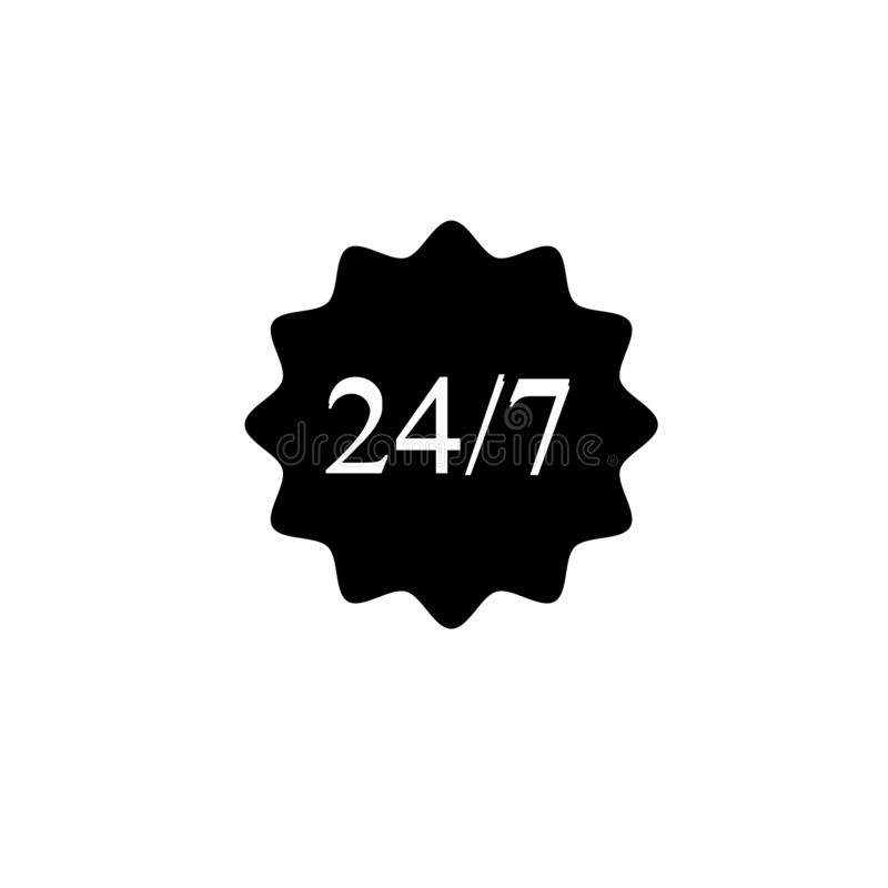 Badge in black and white, Simple and clean design. Help 24 hours a 7 days. vector illustration