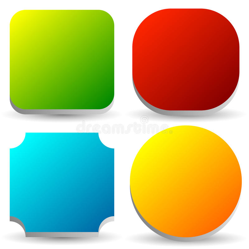 Badge, button, banner set in 4 bright color with slight 3d vector illustration