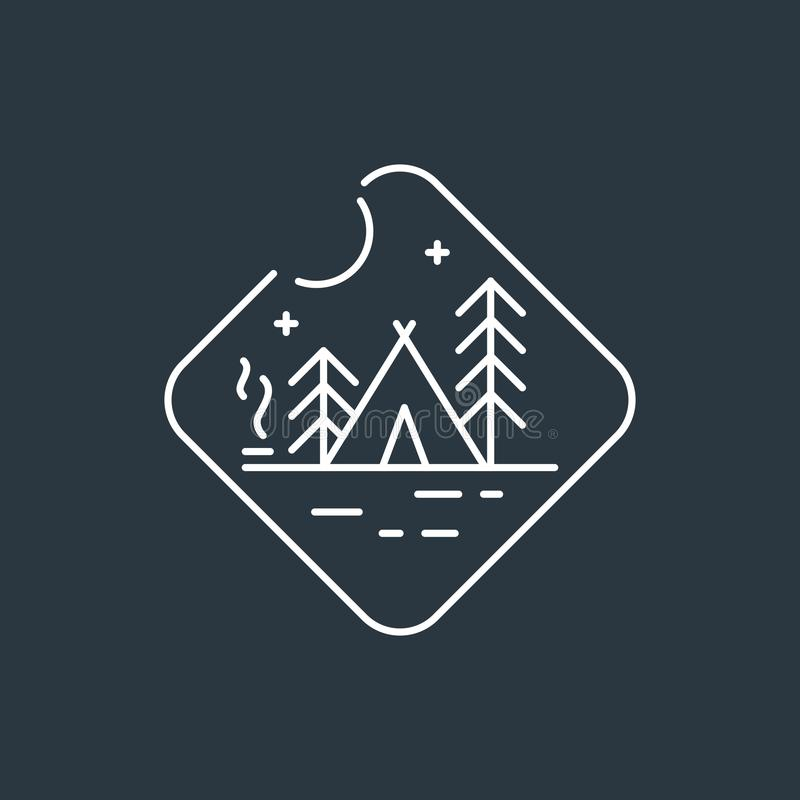 Badge camping logo royalty free illustration