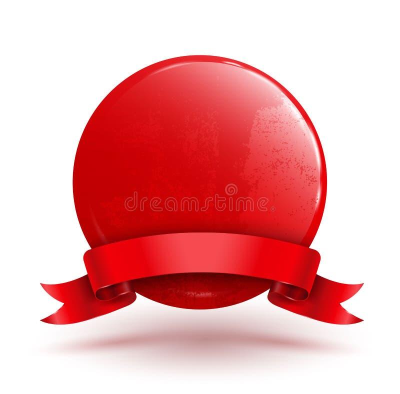 Badge circle with red ribbon. royalty free illustration