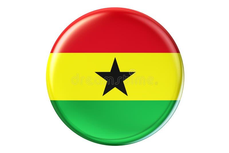 Badge con la bandiera del Ghana, la rappresentazione 3D illustrazione di stock