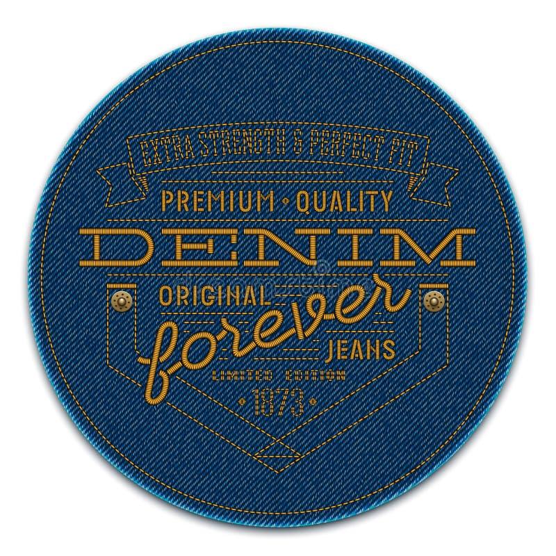 Badge con los remaches y las palabras bordados en fondo del tejano azul oscuro ilustración del vector