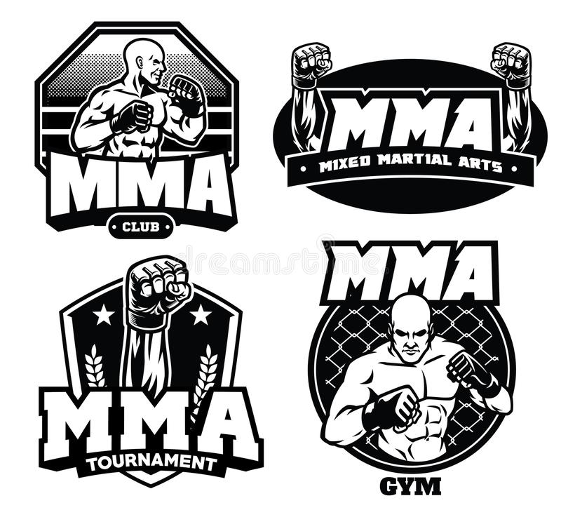 Badge design of mma. Vector of badge design of mma stock illustration