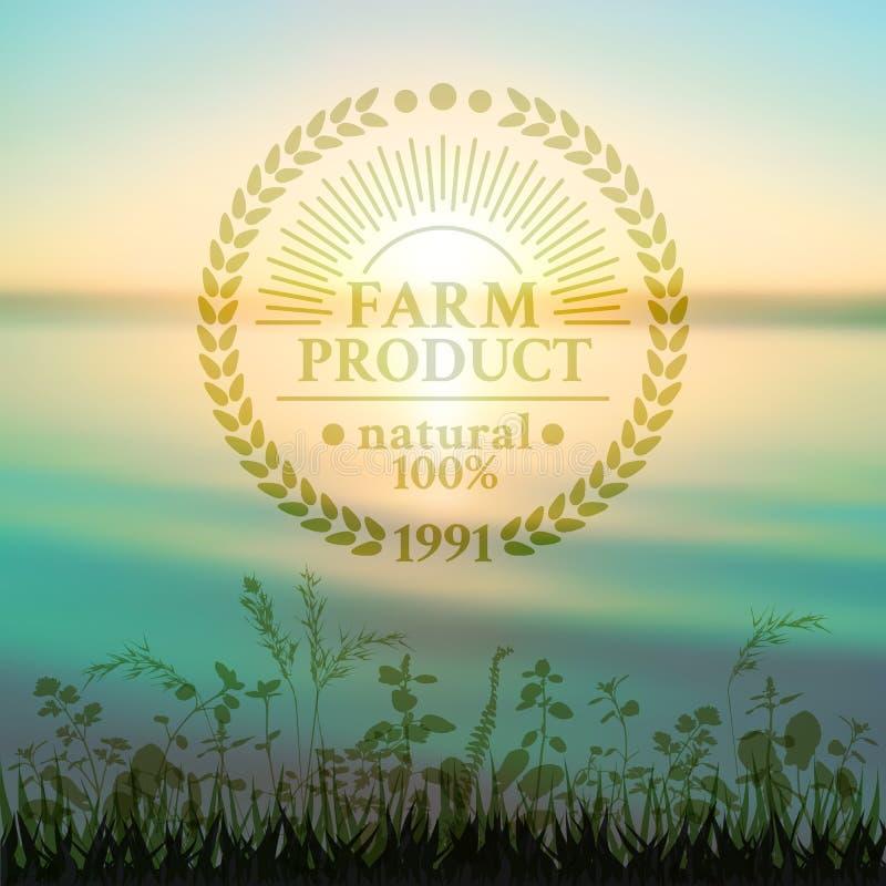 Badge en el estilo retro para las semillas ecológicamente puras ilustración del vector