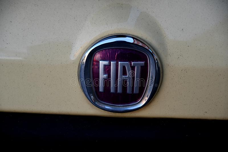 Badge FIAT Copenhague Dinamarca imagenes de archivo