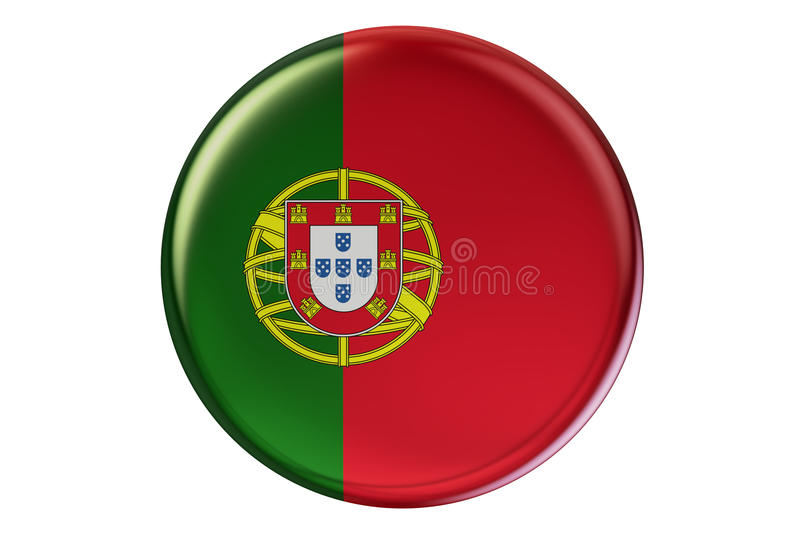 Badge with flag of Portugal, 3D rendering royalty free illustration