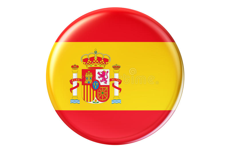 Badge with flag of Spain, 3D rendering royalty free illustration