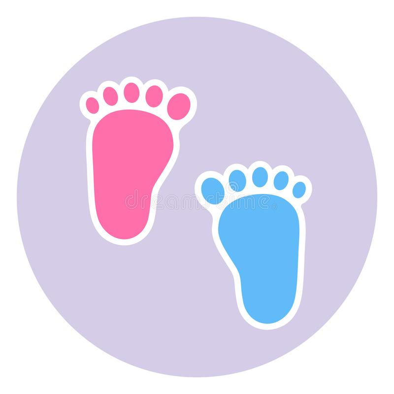A badge of the footprint of the child. Baby footprints twin baby girl and boy royalty free illustration