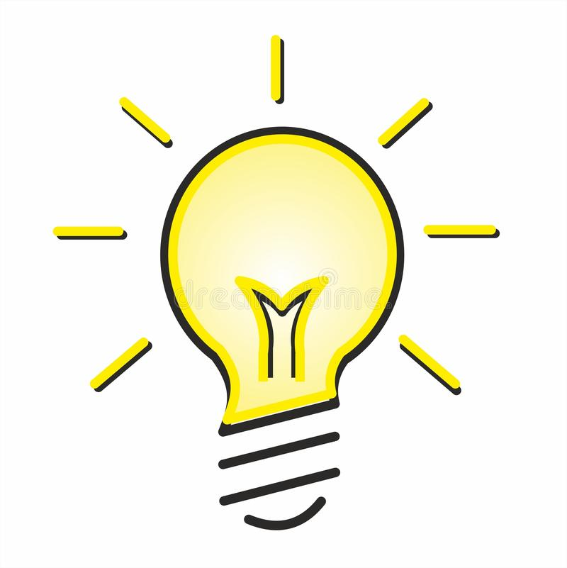 The badge of a glowing light bulb stock illustration
