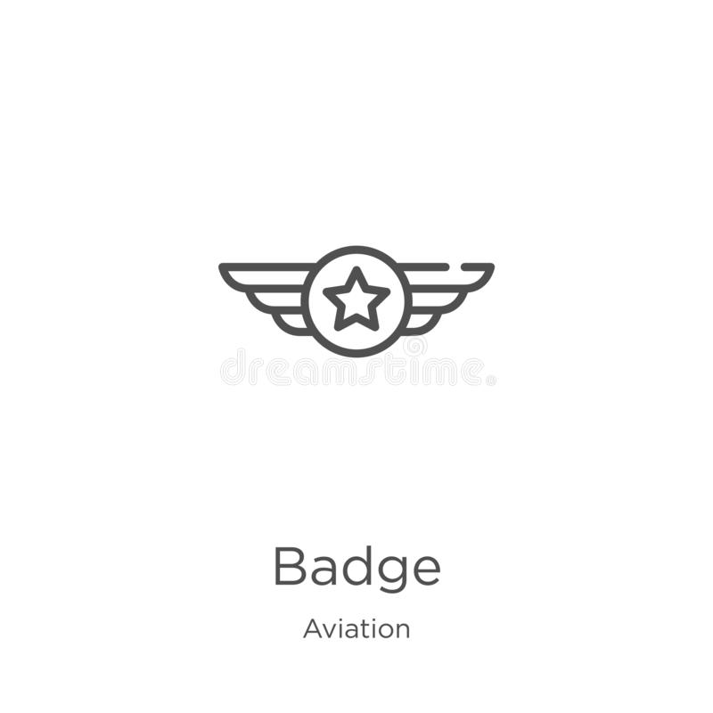 Badge icon vector from aviation collection. Thin line badge outline icon vector illustration. Outline, thin line badge icon for. Badge icon. Element of aviation royalty free illustration