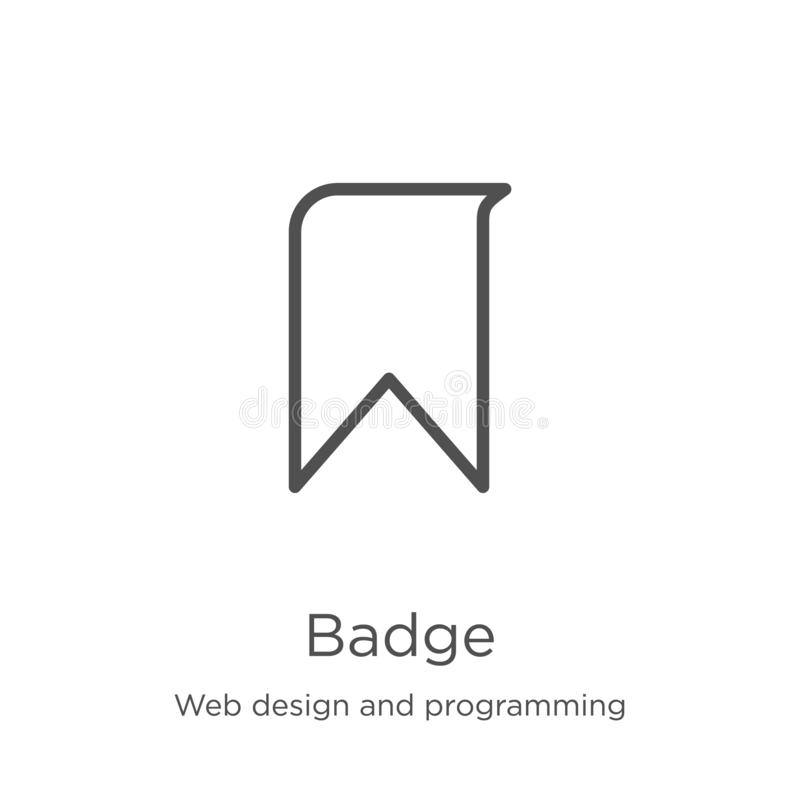 Badge icon vector from web design and programming collection. Thin line badge outline icon vector illustration. Outline, thin line. Badge icon. Element of web royalty free illustration
