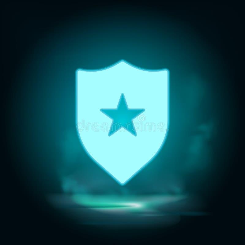Badge, insignia-neonpictogram - Vector Blauwe neonillustratie Badge, insignia-neonpictogram - Vector Infografisch concept stock illustratie