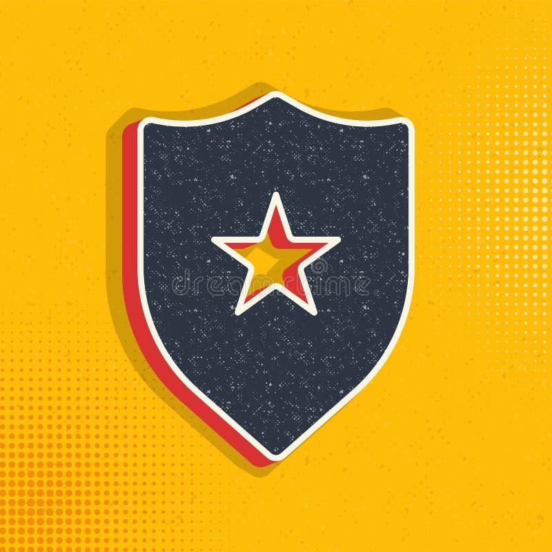 badge, insignia pop art, retro pictogram Vectorillustratie van pop stock illustratie