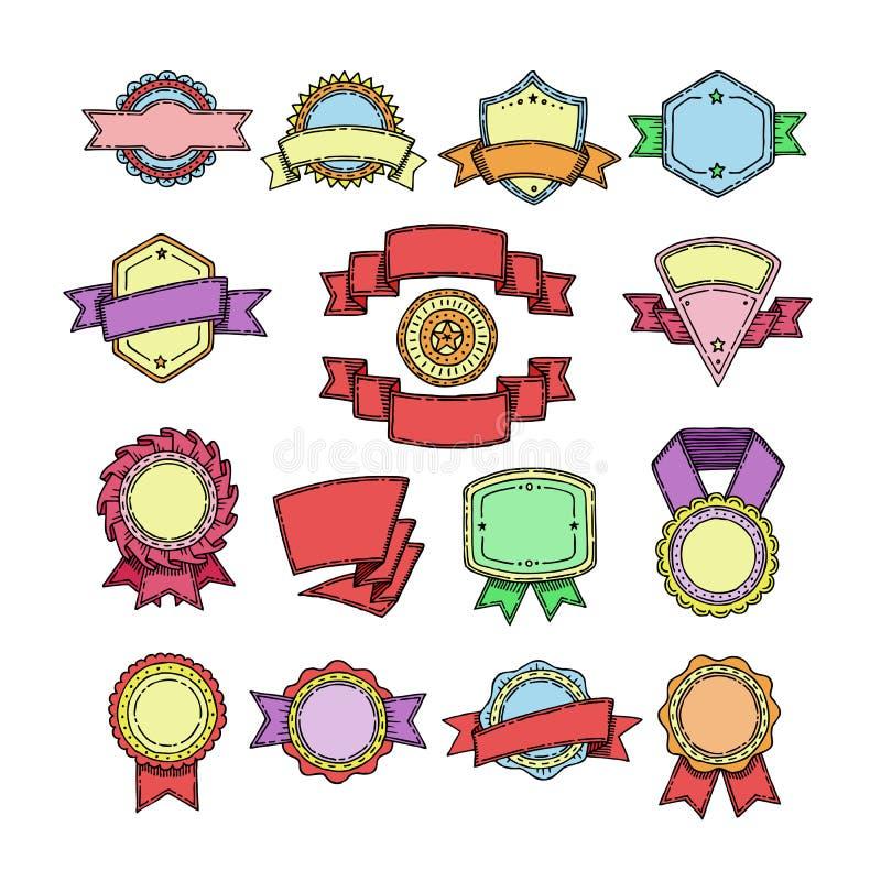 Badge l'elemento di qualità di vettore per l'insegna o la retro etichetta in bianco per l'insieme ribboned illustrazione della de illustrazione di stock