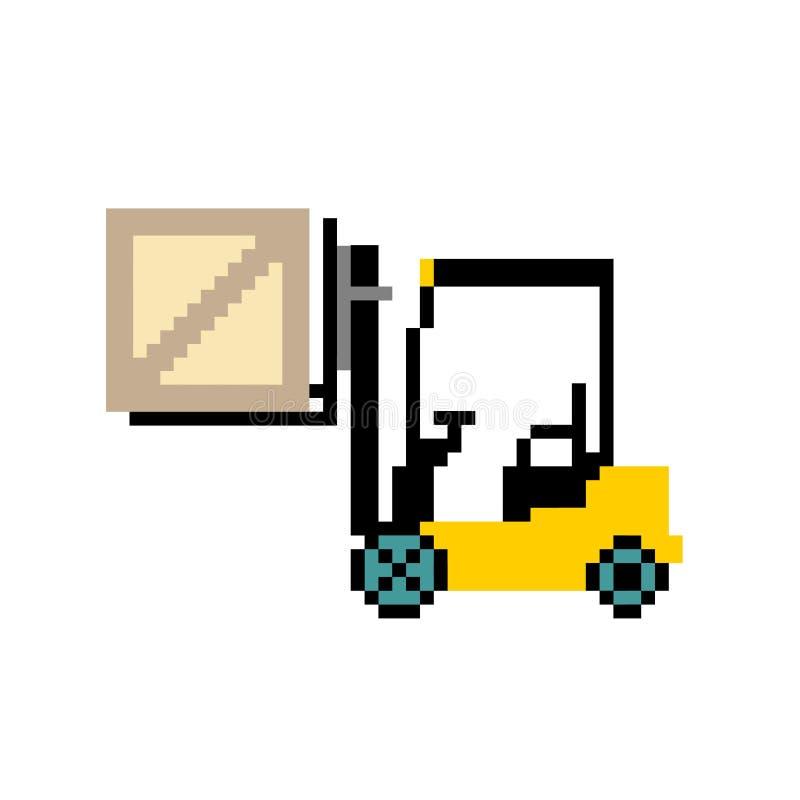 Badge la carretilla elevadora, carretilla elevadora del almacén con la caja, ejemplo de la carretilla elevadora La imagen en el e ilustración del vector